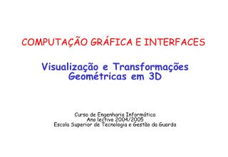 COMPUTA  O GR FICA E INTERFACES