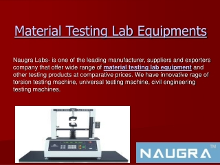 List of Material Testing Lab Equipments
