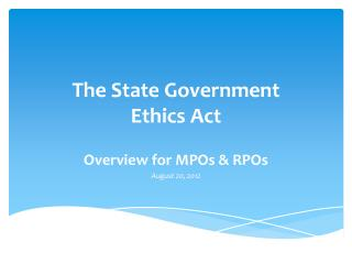 The State Government  Ethics Act