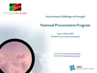Knowledge Society Agency  2.  eGovernment in Portugal  3.  National Public Procurement Program