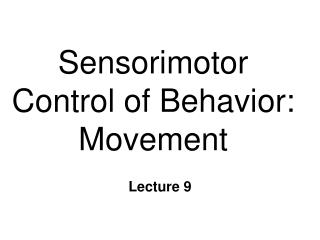 Sensorimotor Control of Behavior:  Movement