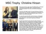 MSC Trophy  Christine Hinson