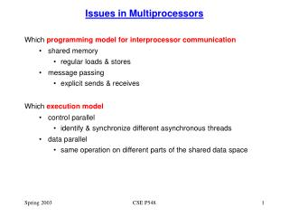 Issues in Multiprocessors