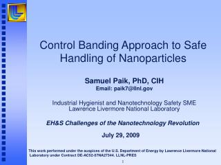Control Banding Approach to Safe Handling of Nanoparticles