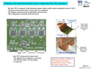 Definition of the front-end electronics and its cooling in the Alice TPC experiment