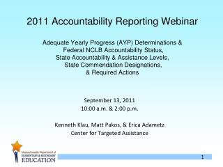 2011 Accountability Reporting Webinar  Adequate Yearly Progress AYP Determinations   Federal NCLB Accountability Status,