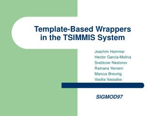 Template-Based Wrappers  in the TSIMMIS System