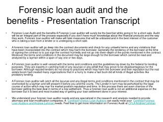 certified forensic loan auditor