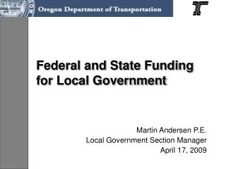 Federal and State Funding for Local Government