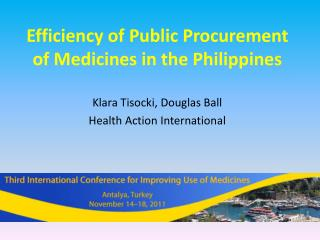 Efficiency of Public Procurement of Medicines in the Philippines