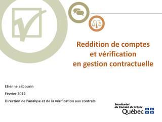 Reddition de comptes et v rification en gestion contractuelle