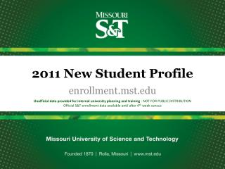 2011 New Student Profile