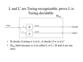 L and L  are Turing-recognizable, prove L is Turing-decidable