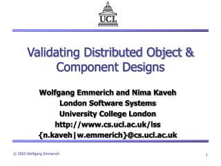 Validating Distributed Object  Component Designs