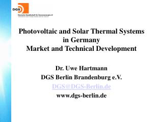 Photovoltaic and Solar Thermal Systems  in Germany Market and Technical Development