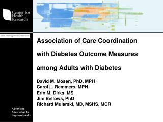 Association of Care Coordination  with Diabetes Outcome Measures  among Adults with Diabetes