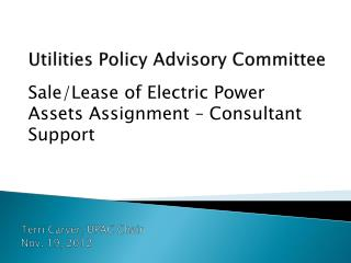 Utilities Policy Advisory Committee