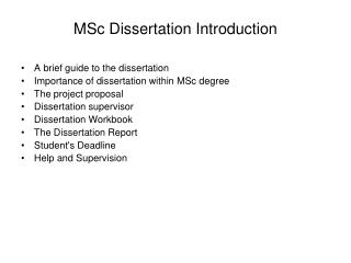 MSc Dissertation Introduction