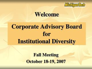 Corporate Advisory Board for Institutional Diversity