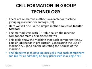CELL FORMATION IN GROUP TECHNOLOGY
