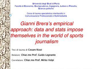 Gianni Brera s empirical approach: data and stats impose themselves in the world of sports journalism
