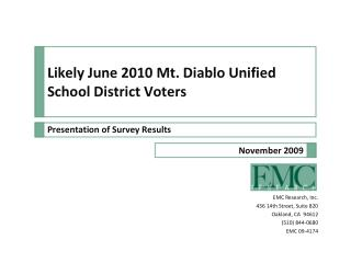 Likely June 2010 Mt. Diablo Unified School District Voters