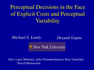 Perceptual Decisions in the Face of Explicit Costs and Perceptual Variability