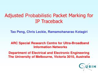 Adjusted Probabilistic Packet Marking for  IP Traceback