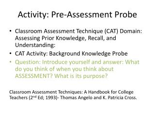 Activity: Pre-Assessment Probe