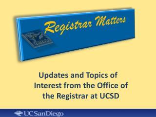 Registrar Matters