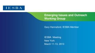 Emerging Issues and Outreach Working Group
