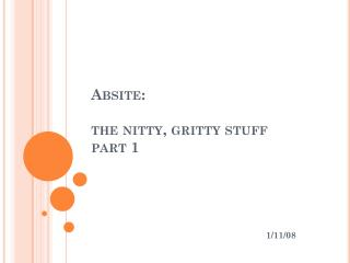 Absite:  the nitty, gritty stuff part 1