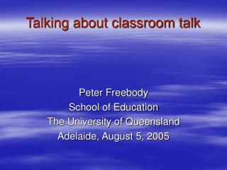 Talking about classroom talk