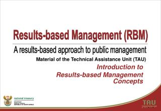 Introduction to  Results-based Management Concepts