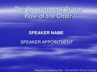 The Environment Group Role of the Chair