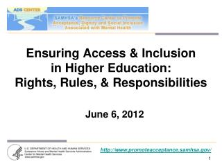 Ensuring Access  Inclusion  in Higher Education:  Rights, Rules,  Responsibilities