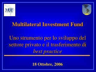 Multilateral Investment Fund   Uno strumento per lo sviluppo del settore privato e il trasferimento di best practice