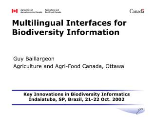 Multilingual Interfaces for Biodiversity Information