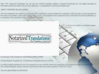 notarized translations - certified translation service