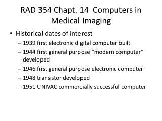 RAD 354 Chapt. 14  Computers in Medical Imaging