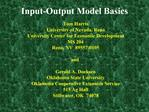 Input-Output Model Basics