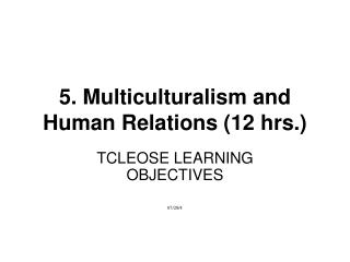5. Multiculturalism and Human Relations 12 hrs.