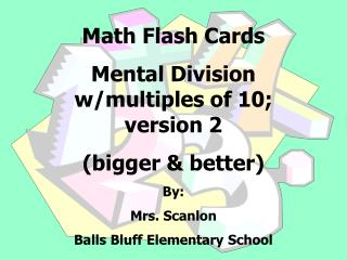 Math Flash Cards  Mental Division w