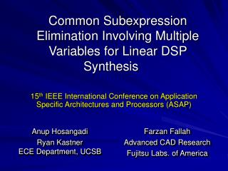 Common Subexpression Elimination Involving Multiple Variables for Linear DSP Synthesis