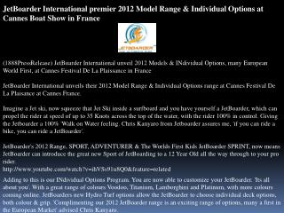 jetboarder international premier 2012 model range & individu
