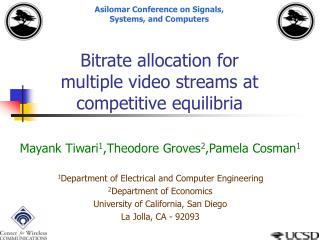 Bitrate allocation for multiple video streams at competitive equilibria