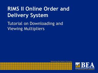 RIMS II Online Order and Delivery System
