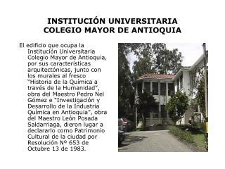 INSTITUCI N UNIVERSITARIA  COLEGIO MAYOR DE ANTIOQUIA