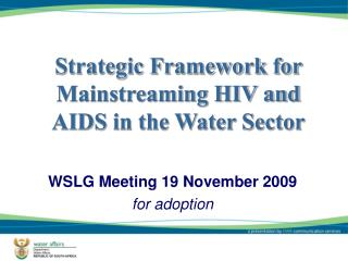 WSLG Meeting 19 November 2009 for adoption