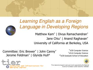 Learning English as a Foreign Language in Developing Regions